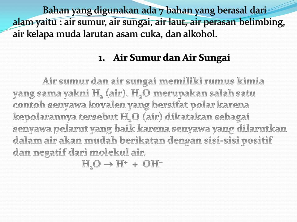 Air Sumur dan Air Sungai