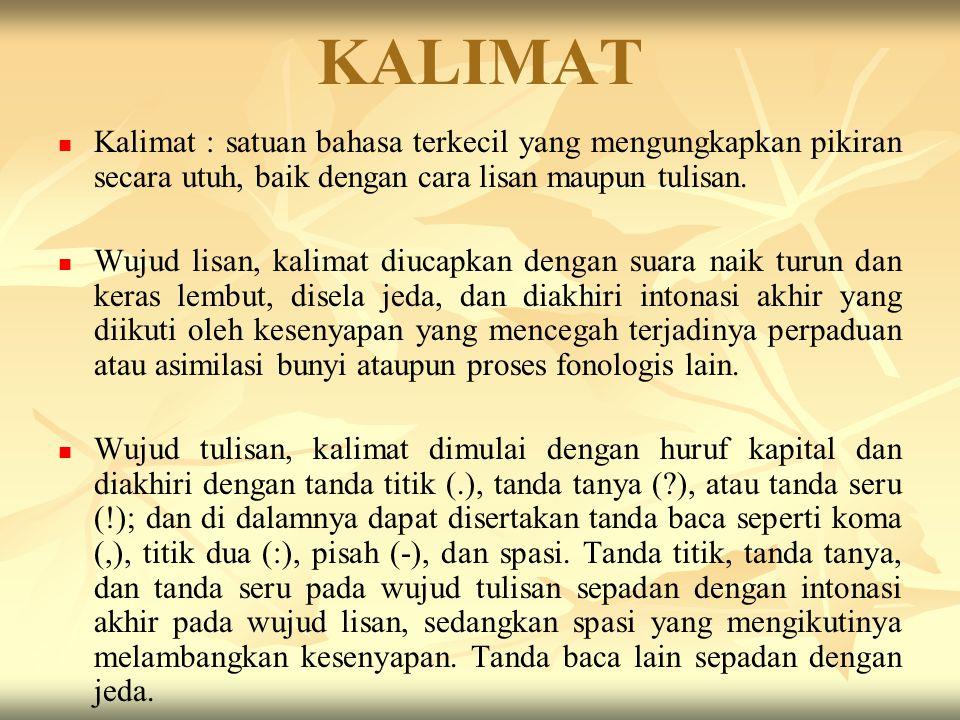 KALIMAT Kalimat : satuan bahasa terkecil yang mengungkapkan pikiran secara utuh, baik dengan cara lisan maupun tulisan.