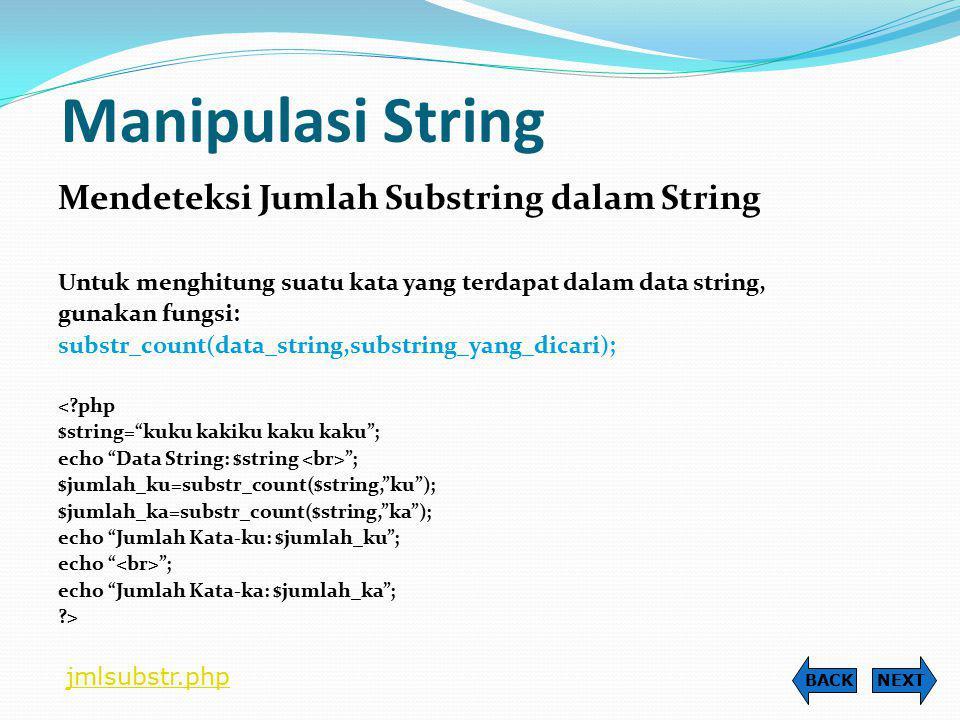 Manipulasi String Mendeteksi Jumlah Substring dalam String