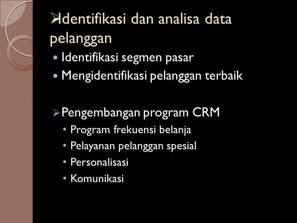 Identifikasi dan analisa data pelanggan