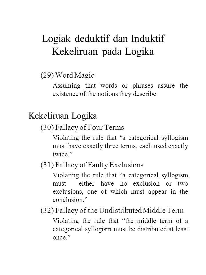 Logiak deduktif dan Induktif Kekeliruan pada Logika