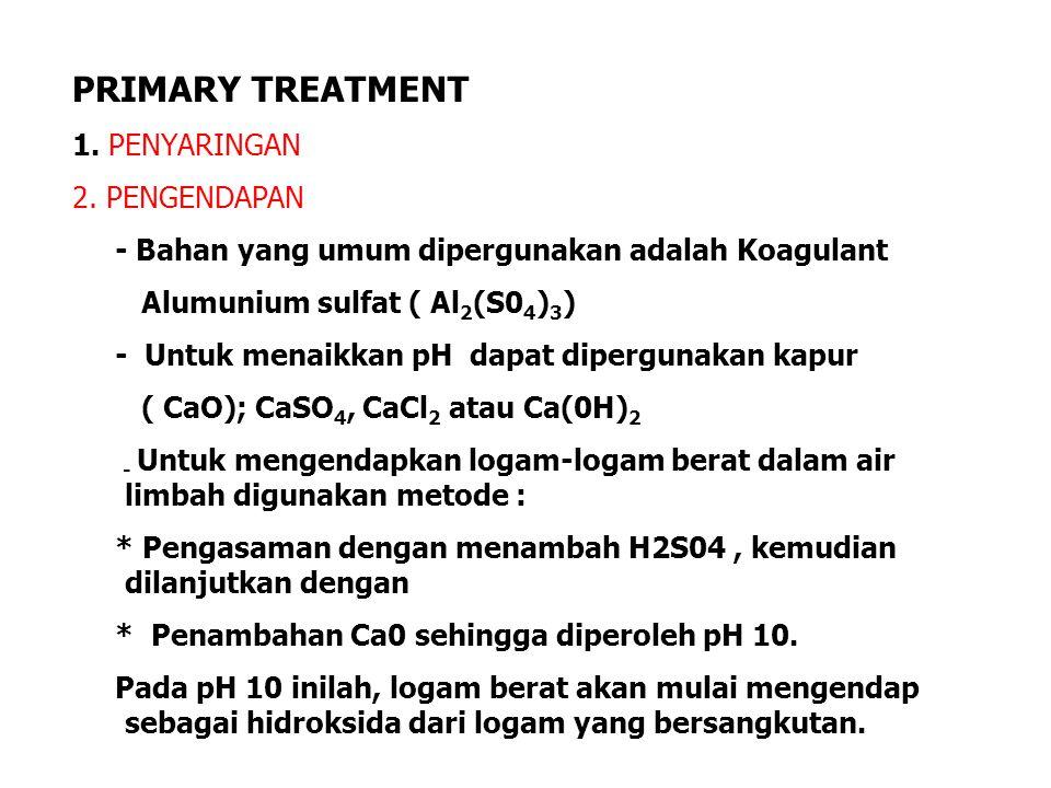 PRIMARY TREATMENT 1. PENYARINGAN 2. PENGENDAPAN