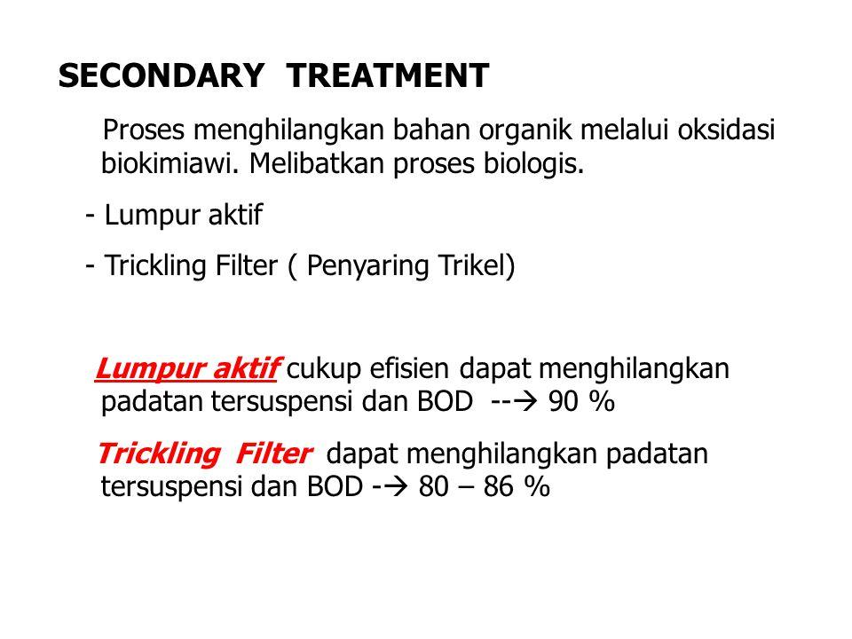 SECONDARY TREATMENT Proses menghilangkan bahan organik melalui oksidasi biokimiawi. Melibatkan proses biologis.