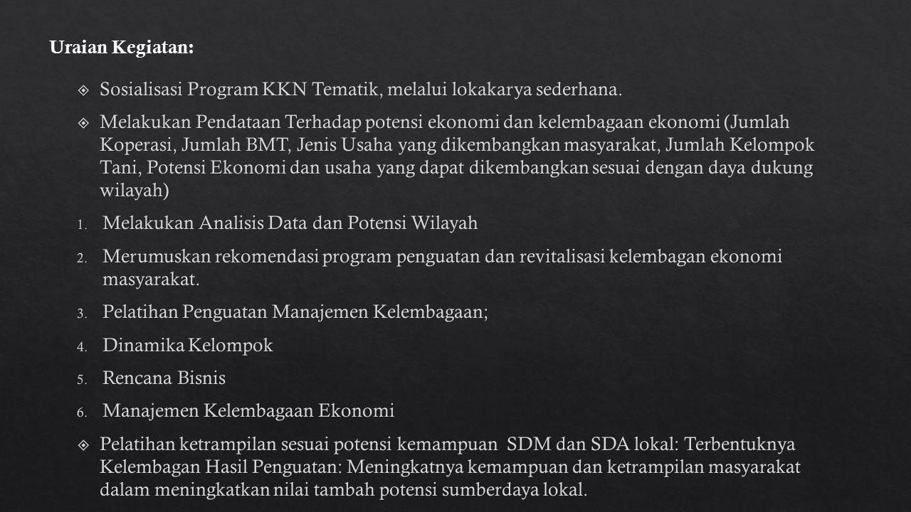 Sosialisasi Program KKN Tematik, melalui lokakarya sederhana.