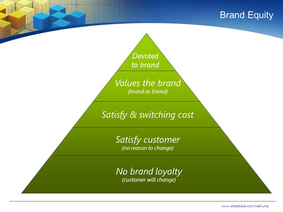 Brand Equity Values the brand Satisfy & switching cost