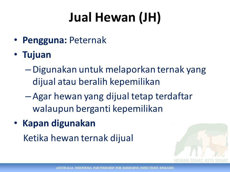 Jual Hewan (JH) Pengguna: Peternak Tujuan