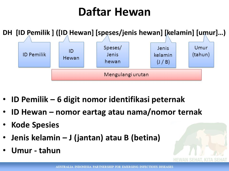 Daftar Hewan ID Pemilik – 6 digit nomor identifikasi peternak