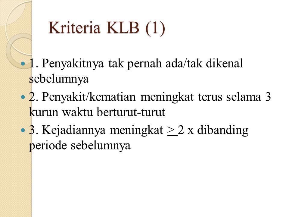 Kriteria KLB (1) 1. Penyakitnya tak pernah ada/tak dikenal sebelumnya