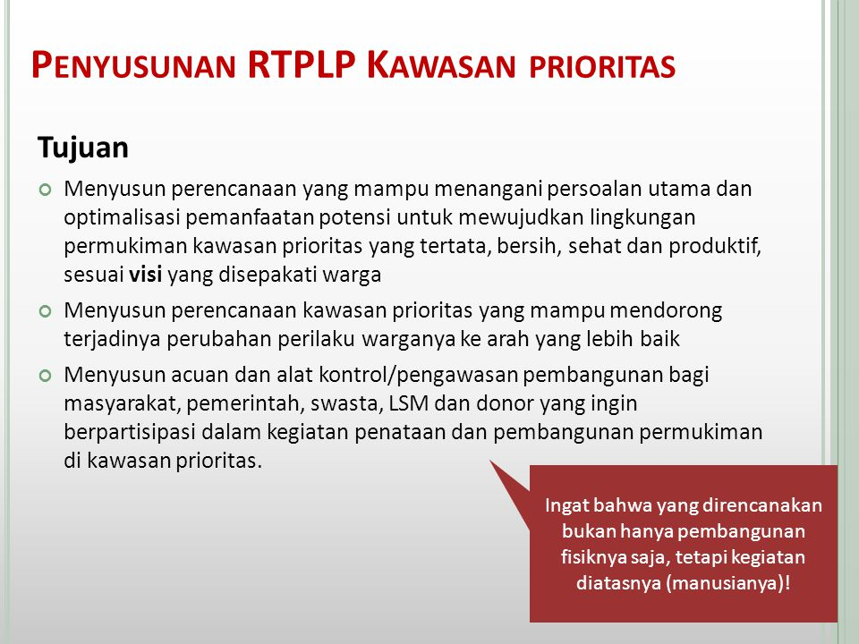 Penyusunan RTPLP Kawasan prioritas