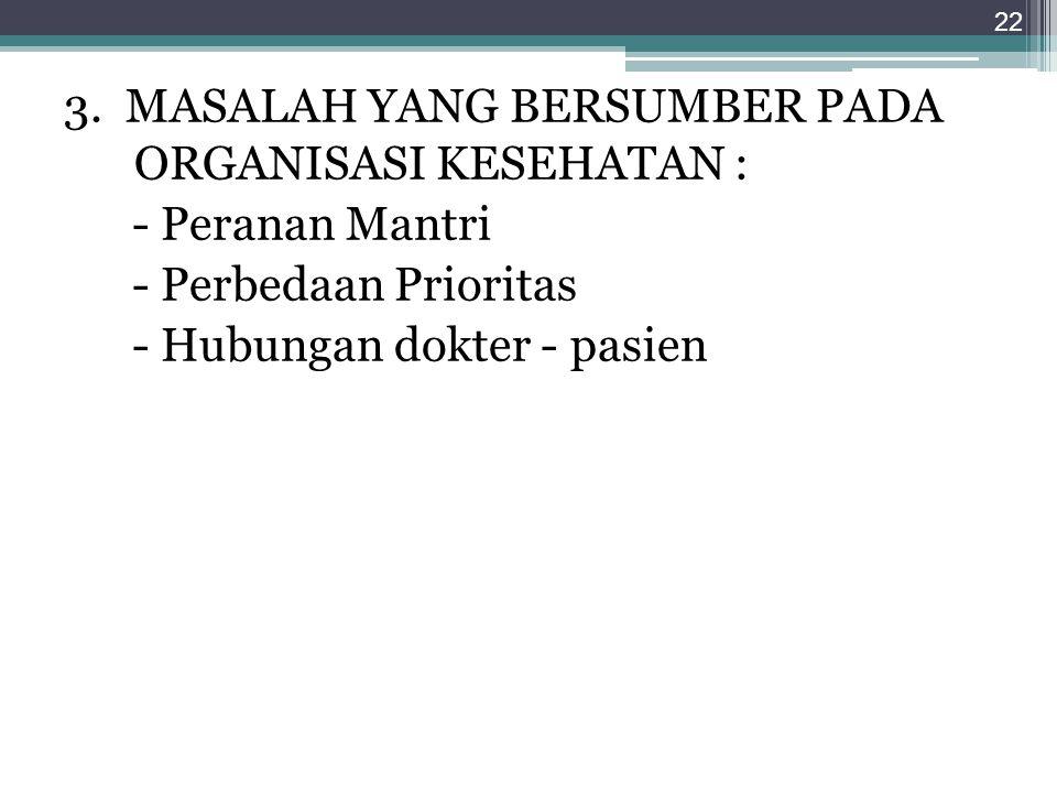 3. MASALAH YANG BERSUMBER PADA ORGANISASI KESEHATAN :
