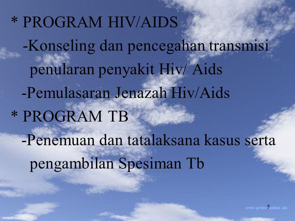 * PROGRAM HIV/AIDS -Konseling dan pencegahan transmisi. penularan penyakit Hiv/ Aids. -Pemulasaran Jenazah Hiv/Aids.
