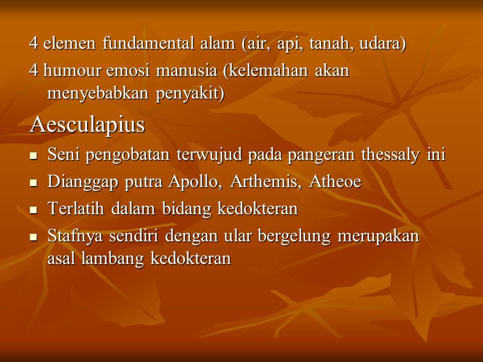 Aesculapius 4 elemen fundamental alam (air, api, tanah, udara)