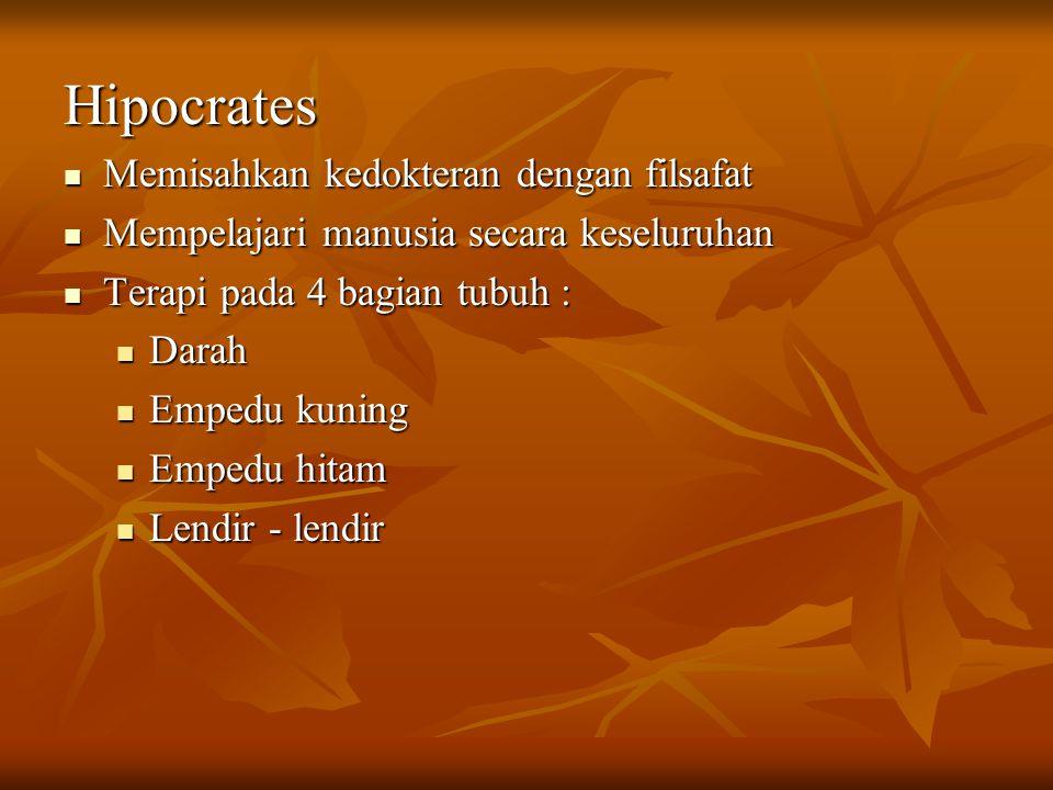 Hipocrates Memisahkan kedokteran dengan filsafat