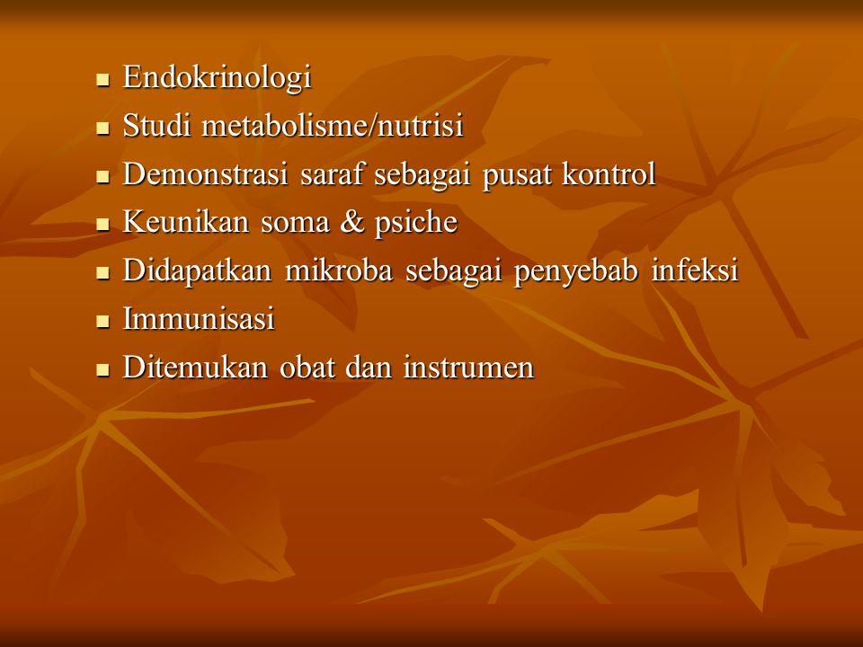 Endokrinologi Studi metabolisme/nutrisi. Demonstrasi saraf sebagai pusat kontrol. Keunikan soma & psiche.