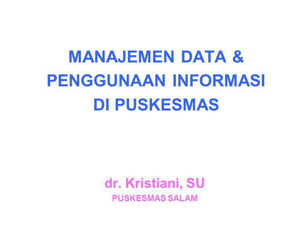 MANAJEMEN DATA & PENGGUNAAN INFORMASI DI PUSKESMAS