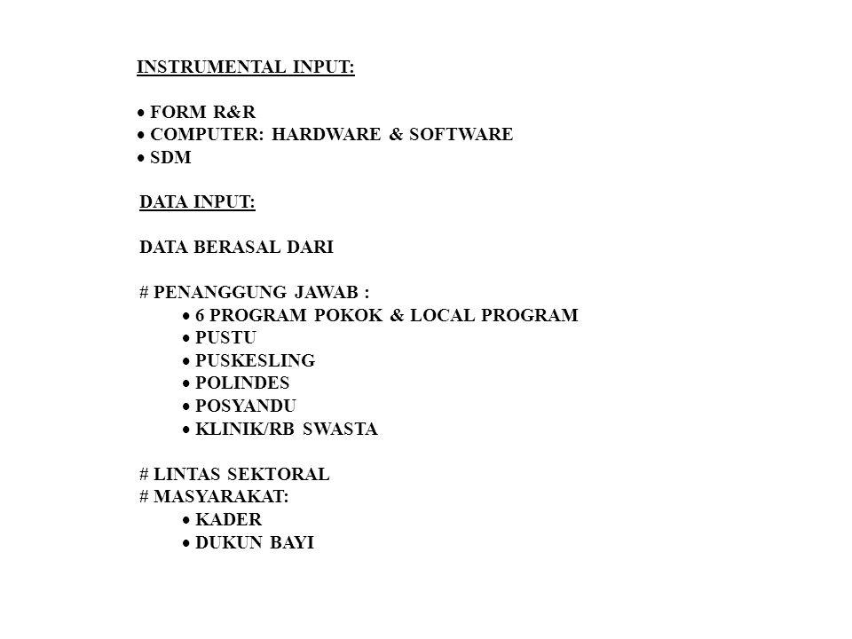 INSTRUMENTAL INPUT: FORM R&R. COMPUTER: HARDWARE & SOFTWARE. SDM. DATA INPUT: DATA BERASAL DARI.