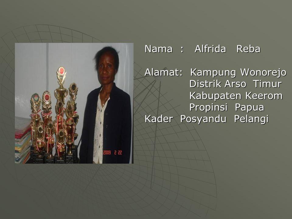 Nama : Alfrida Reba Alamat: Kampung Wonorejo. Distrik Arso Timur. Kabupaten Keerom. Propinsi Papua.