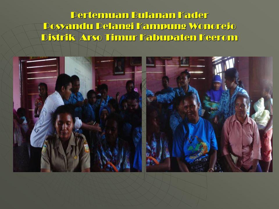 Pertemuan Bulanan Kader Posyandu Pelangi Kampung Wonorejo Distrik Arso Timur Kabupaten Keerom