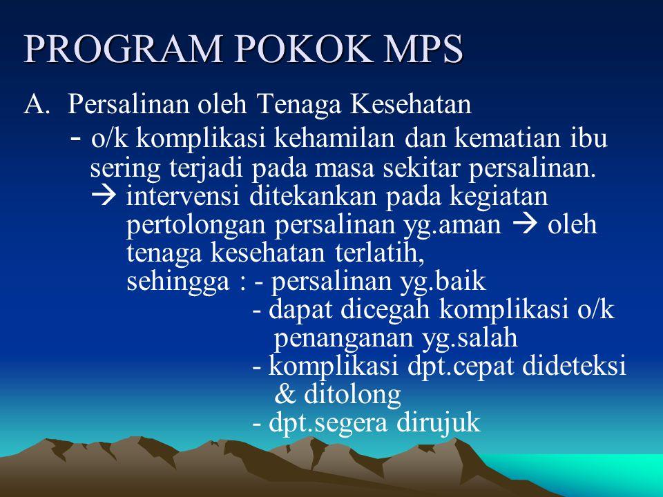 PROGRAM POKOK MPS - o/k komplikasi kehamilan dan kematian ibu