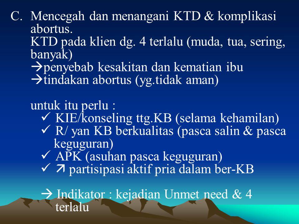 Mencegah dan menangani KTD & komplikasi abortus.