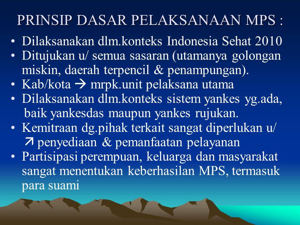 PRINSIP DASAR PELAKSANAAN MPS :