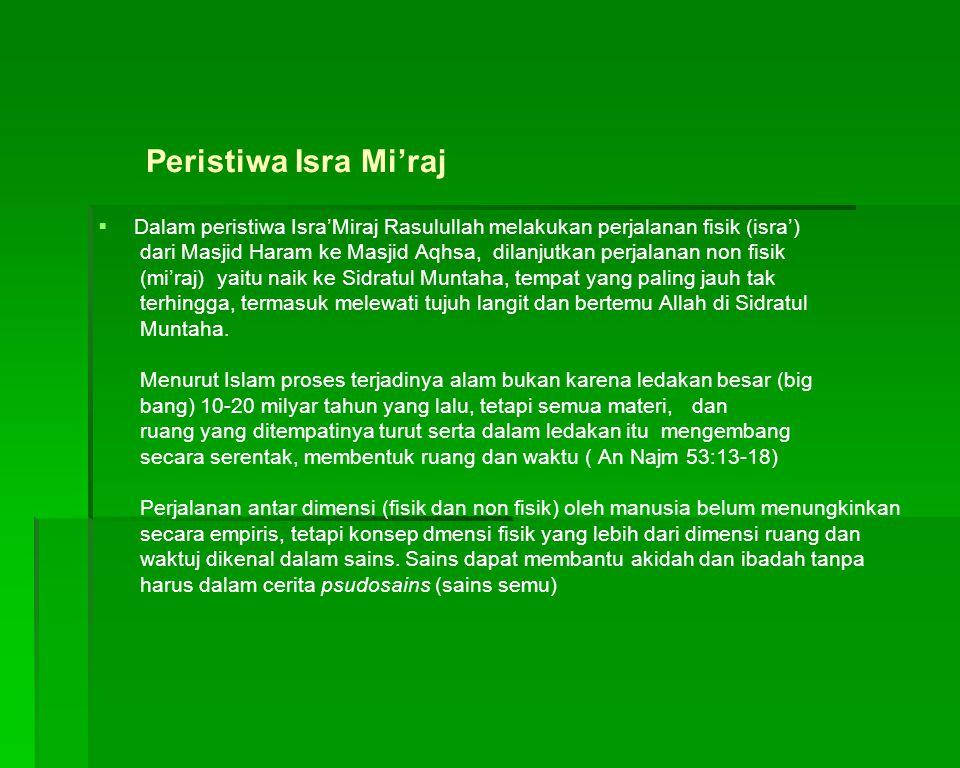 Peristiwa Isra Mi'raj Dalam peristiwa Isra'Miraj Rasulullah melakukan perjalanan fisik (isra')