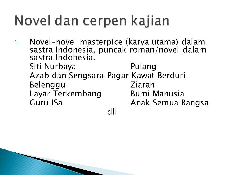 Novel dan cerpen kajian