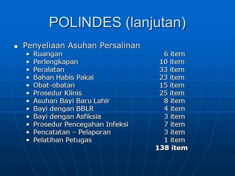 POLINDES (lanjutan) Penyeliaan Asuhan Persalinan Ruangan 6 item