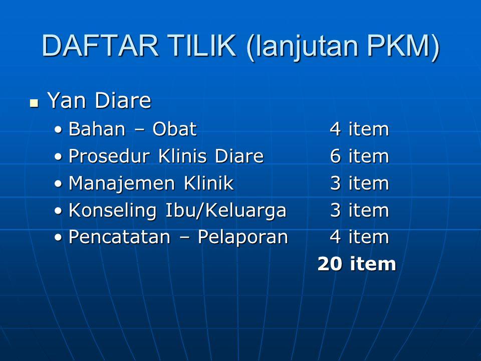 DAFTAR TILIK (lanjutan PKM)