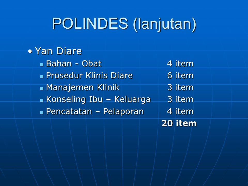POLINDES (lanjutan) Yan Diare Bahan - Obat 4 item