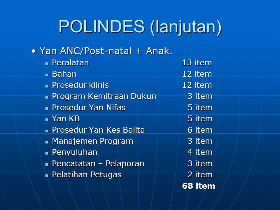 POLINDES (lanjutan) Yan ANC/Post-natal + Anak. Peralatan 13 item