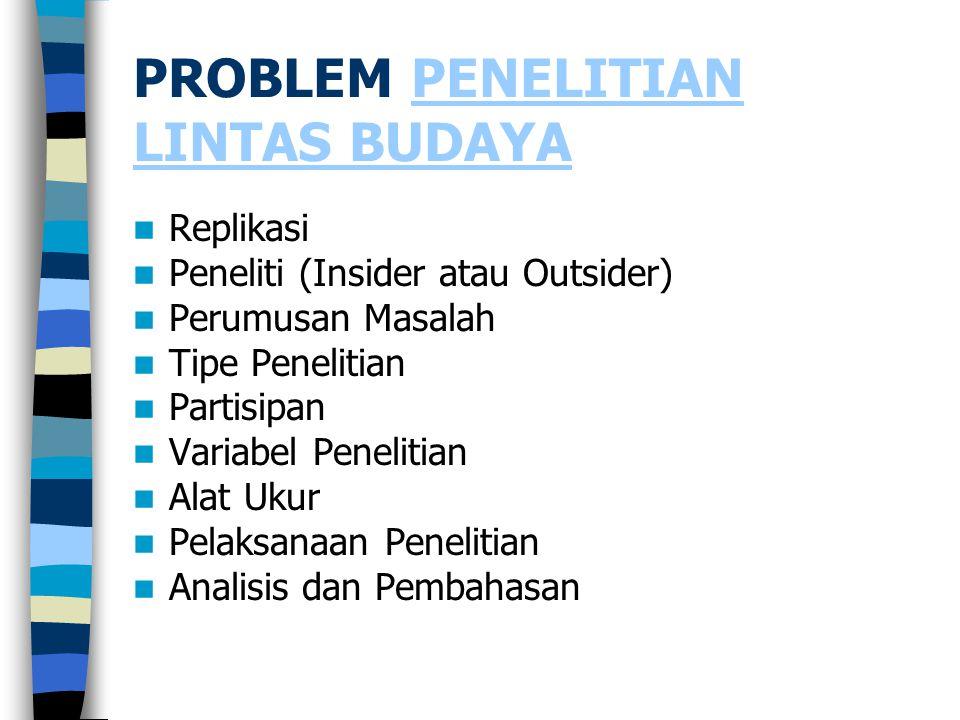 PROBLEM PENELITIAN LINTAS BUDAYA