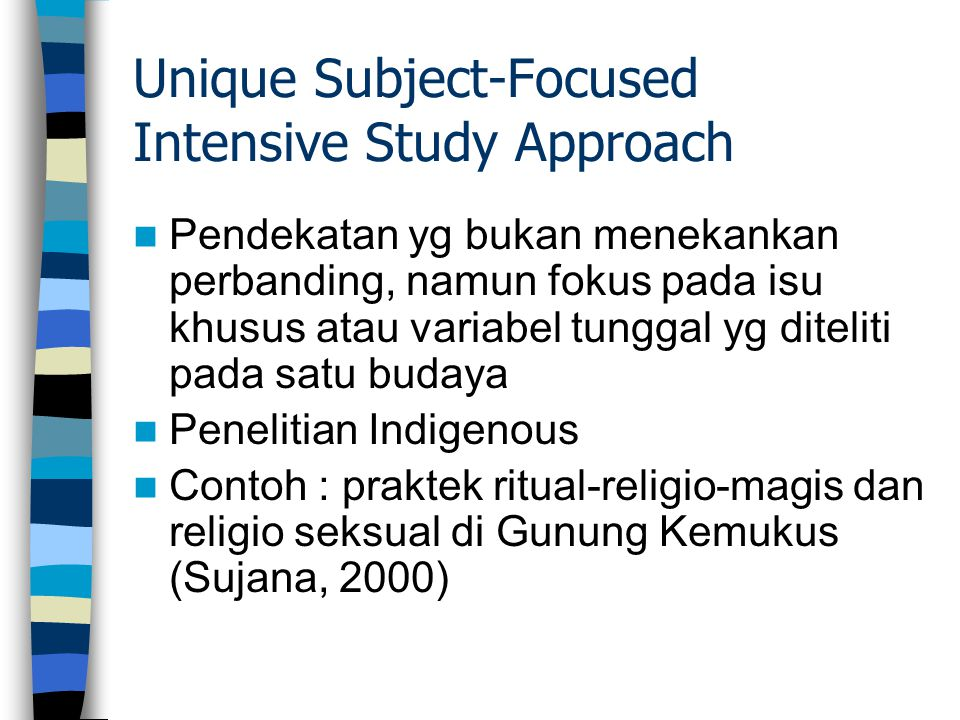 Unique Subject-Focused Intensive Study Approach