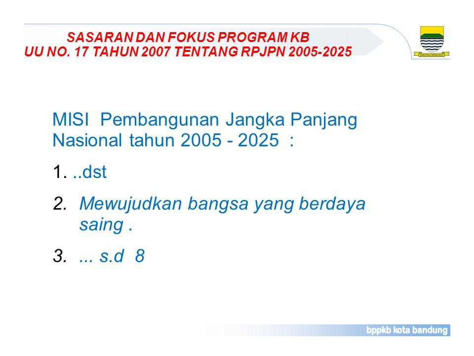 MISI Pembangunan Jangka Panjang Nasional tahun 2005 - 2025 : ..dst