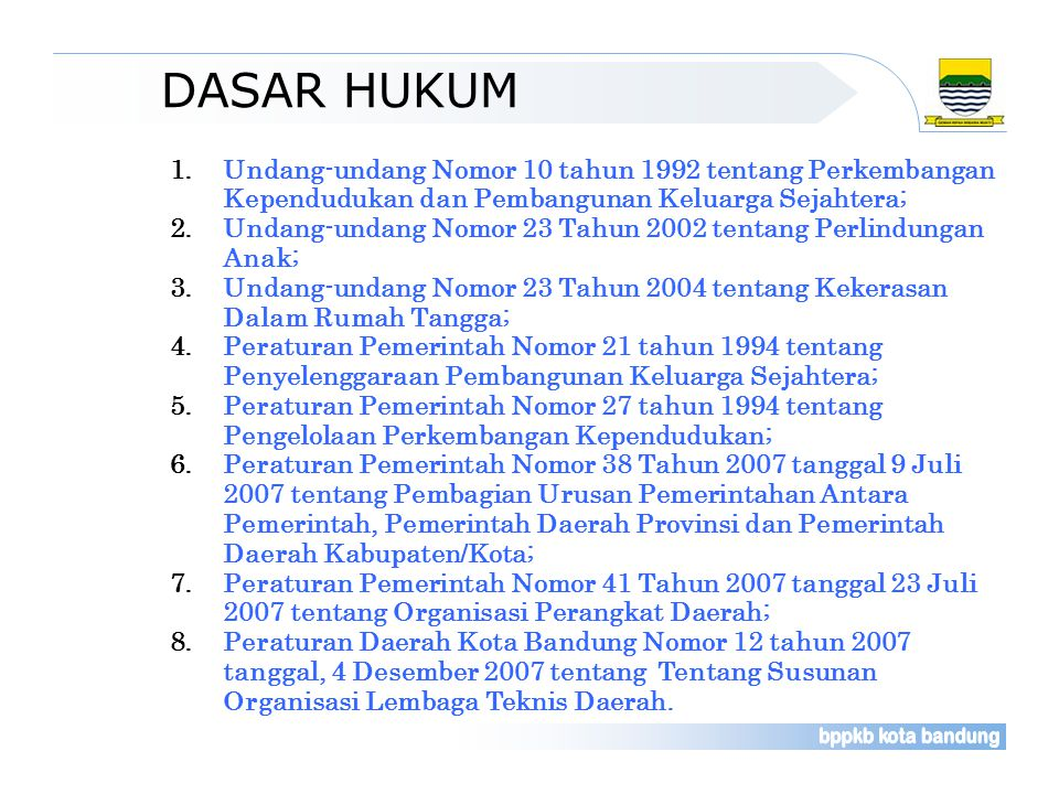 DASAR HUKUM Undang-undang Nomor 10 tahun 1992 tentang Perkembangan Kependudukan dan Pembangunan Keluarga Sejahtera;
