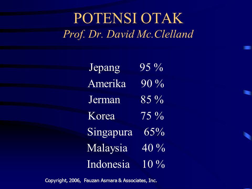 POTENSI OTAK Prof. Dr. David Mc.Clelland