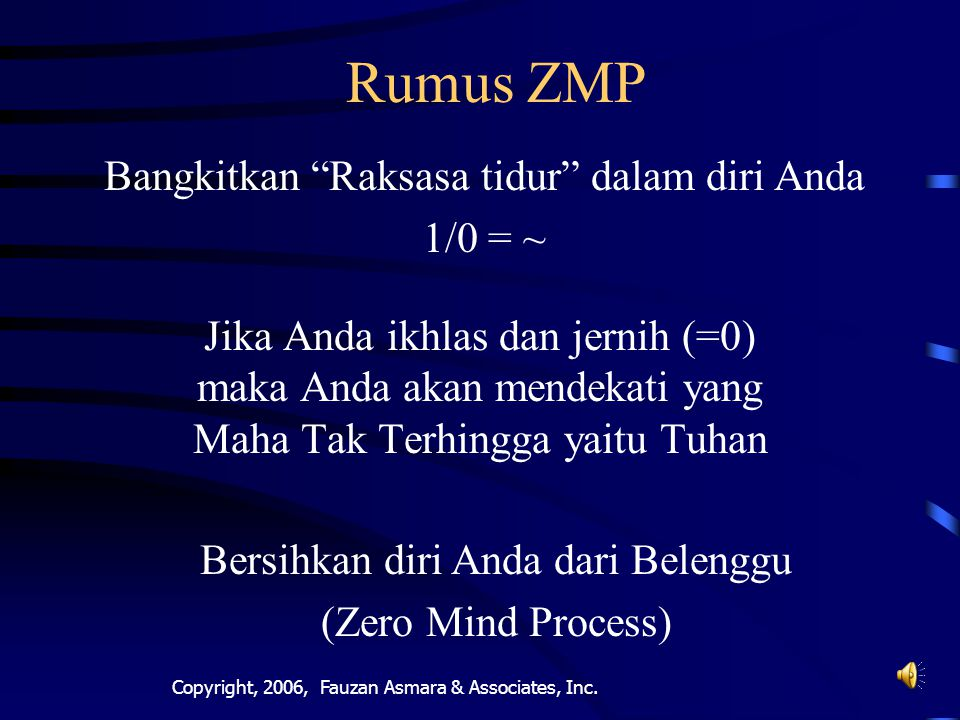 Rumus ZMP Bangkitkan Raksasa tidur dalam diri Anda 1/0 = ~