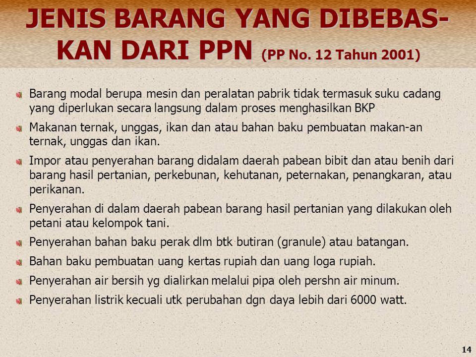JENIS BARANG YANG DIBEBAS-KAN DARI PPN (PP No. 12 Tahun 2001)