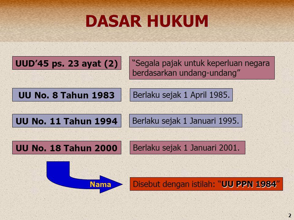 DASAR HUKUM UUD'45 ps. 23 ayat (2) UU No. 8 Tahun 1983