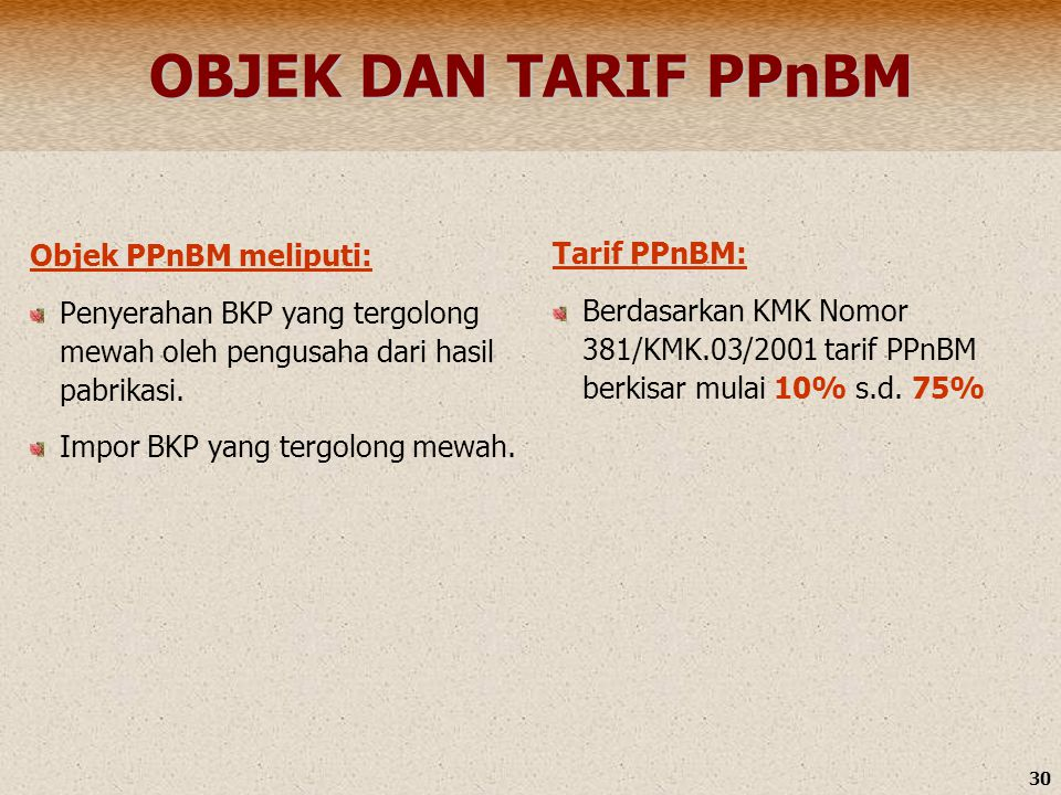 OBJEK DAN TARIF PPnBM Objek PPnBM meliputi: Tarif PPnBM: