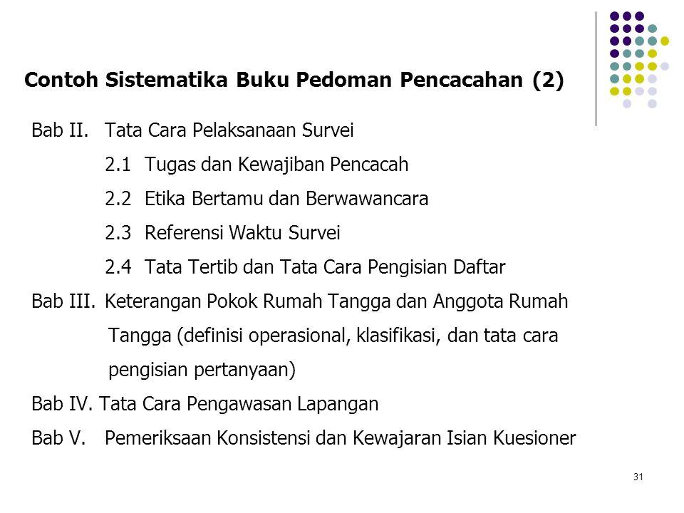 Contoh Sistematika Buku Pedoman Pencacahan (2)