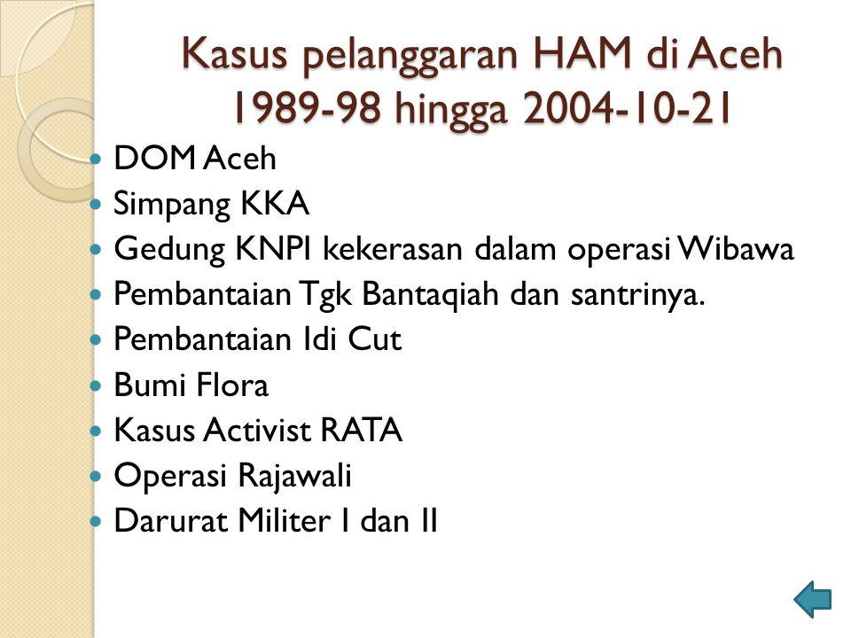 Kasus pelanggaran HAM di Aceh 1989-98 hingga 2004-10-21