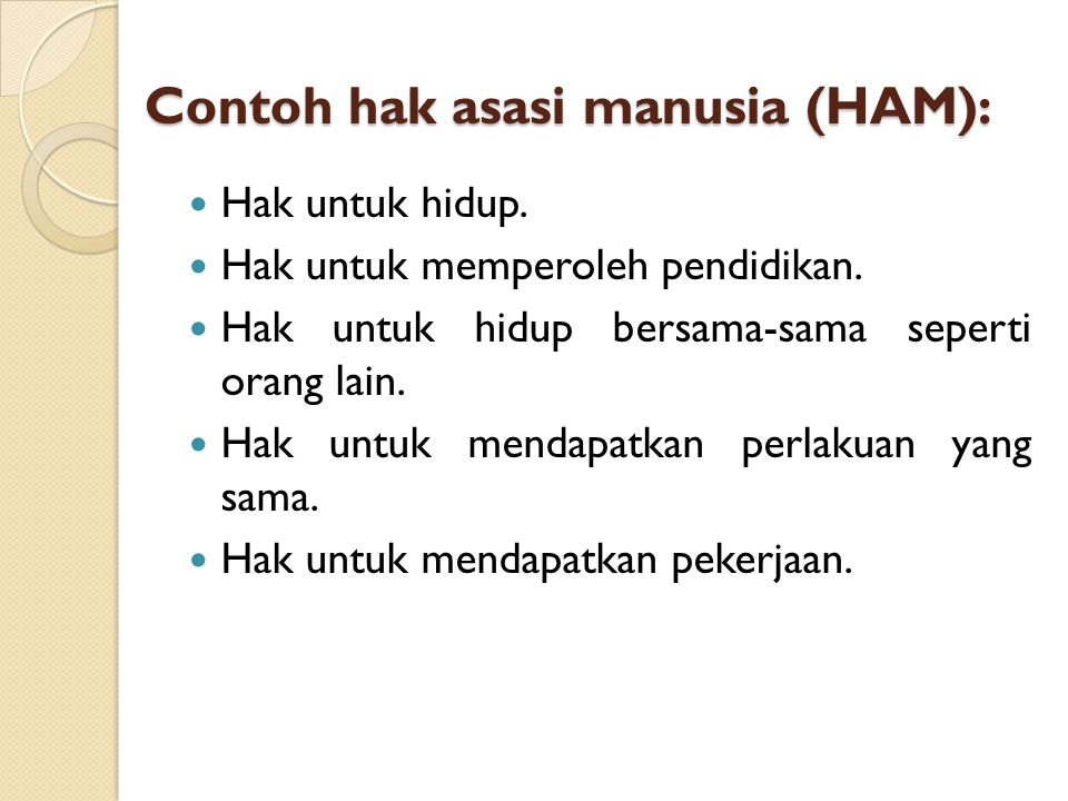 Contoh hak asasi manusia (HAM):