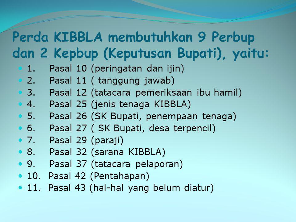 Perda KIBBLA membutuhkan 9 Perbup dan 2 Kepbup (Keputusan Bupati), yaitu: