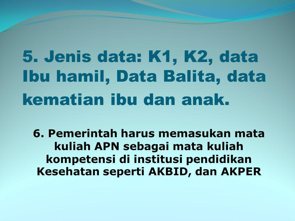 5. Jenis data: K1, K2, data Ibu hamil, Data Balita, data kematian ibu dan anak.