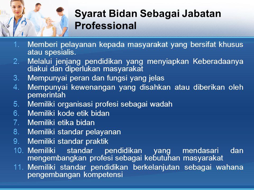 Syarat Bidan Sebagai Jabatan Professional