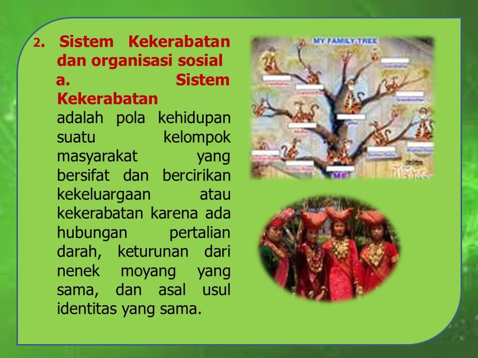 2. Sistem Kekerabatan dan organisasi sosial