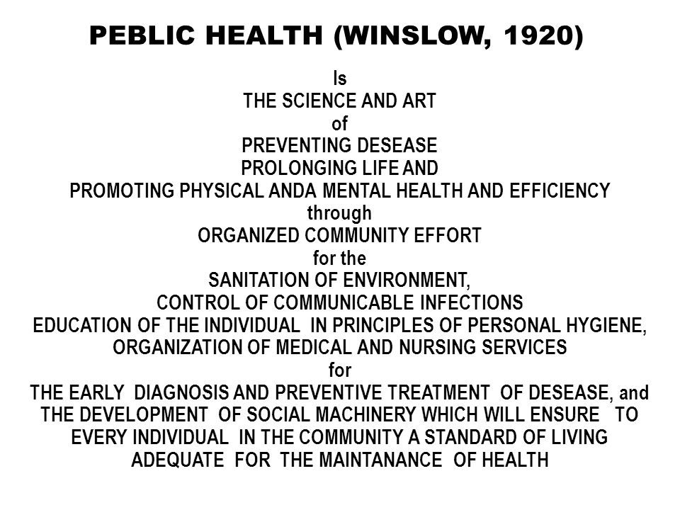PEBLIC HEALTH (WINSLOW, 1920)