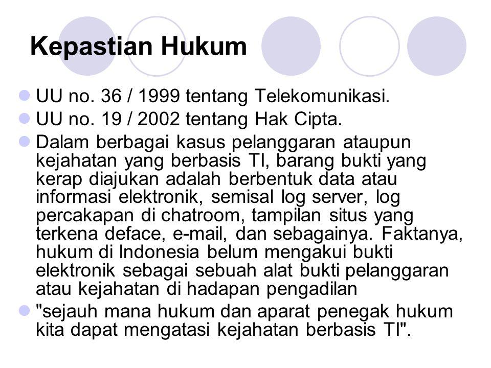 Kepastian Hukum UU no. 36 / 1999 tentang Telekomunikasi.