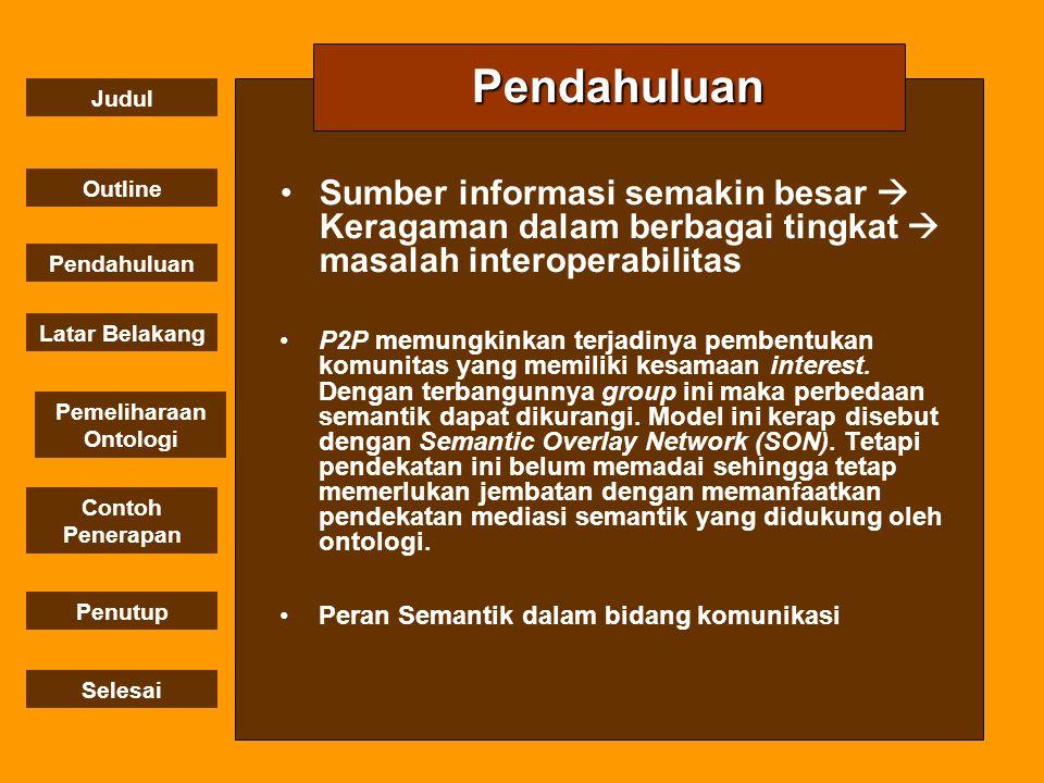 Pendahuluan Sumber informasi semakin besar  Keragaman dalam berbagai tingkat  masalah interoperabilitas.